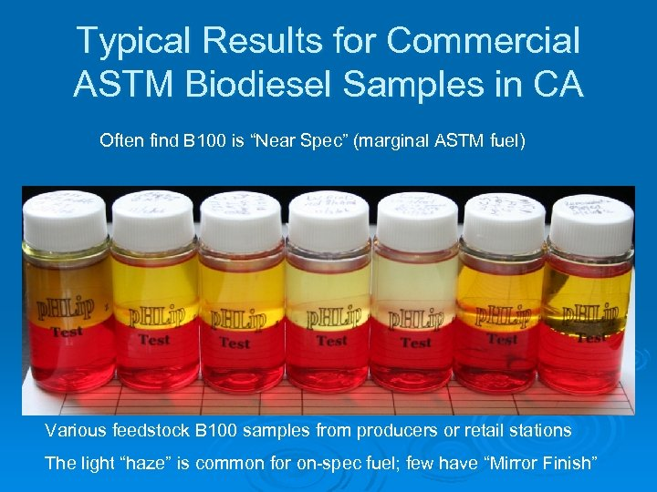 Typical Results for Commercial ASTM Biodiesel Samples in CA Often find B 100 is