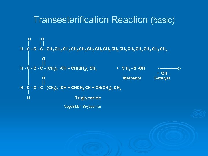 Transesterification Reaction (basic) H O H - C - O - CH 2 CH