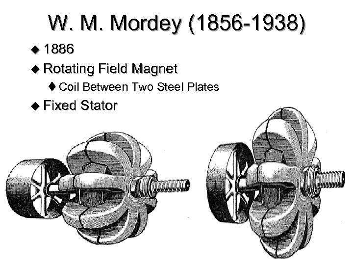 W. M. Mordey (1856 -1938) u 1886 u Rotating Field Magnet t Coil Between