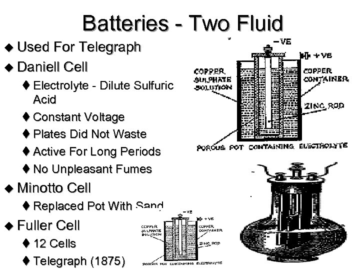 Batteries - Two Fluid u Used For Telegraph u Daniell Cell t Electrolyte -