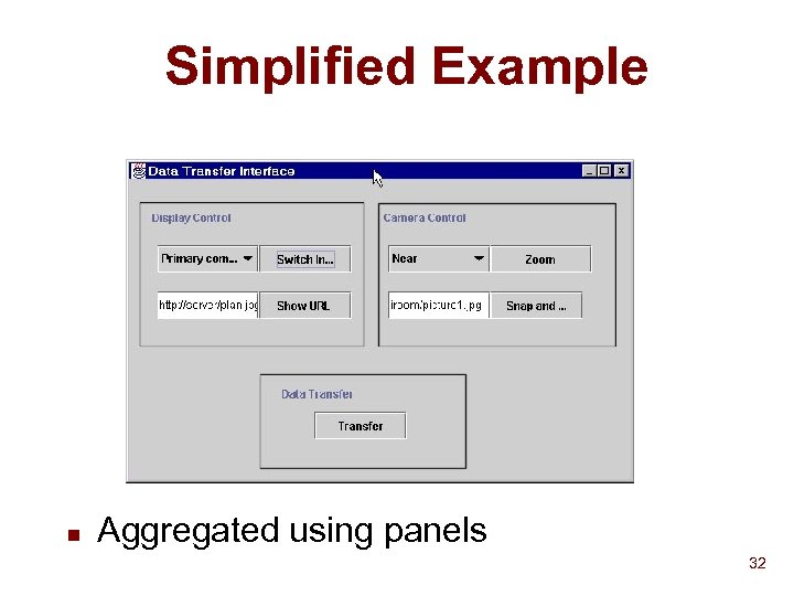 Simplified Example n Aggregated using panels 32