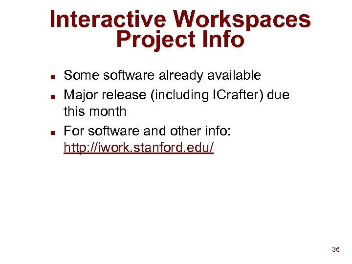 Interactive Workspaces Project Info n n n Some software already available Major release (including