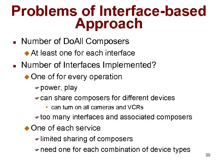 Problems of Interface-based Approach n Number of Do. All Composers u At n least