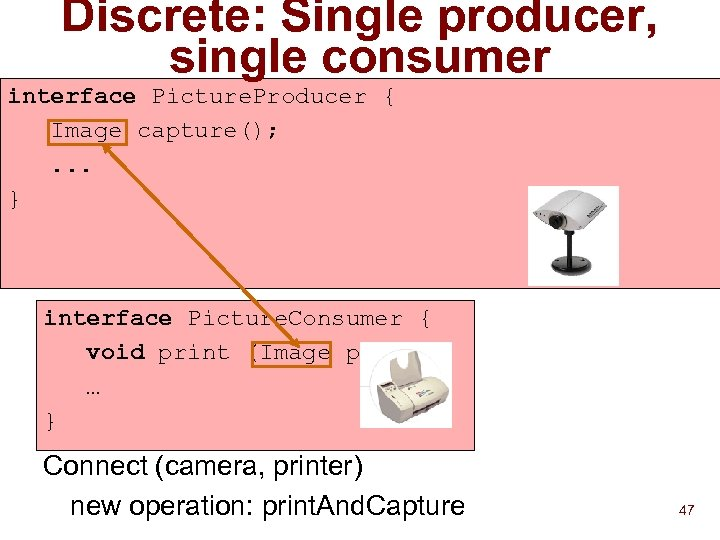 Discrete: Single producer, single consumer interface Picture. Producer { Image capture(); . . .