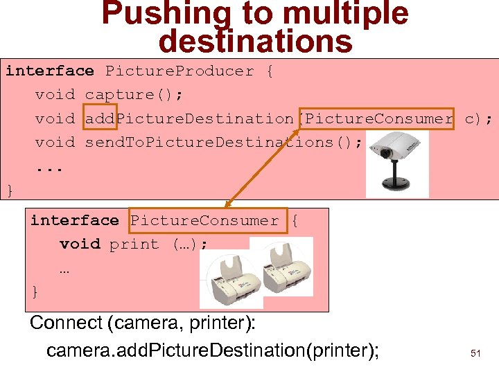 Pushing to multiple destinations interface Picture. Producer { void capture(); void add. Picture. Destination(Picture.