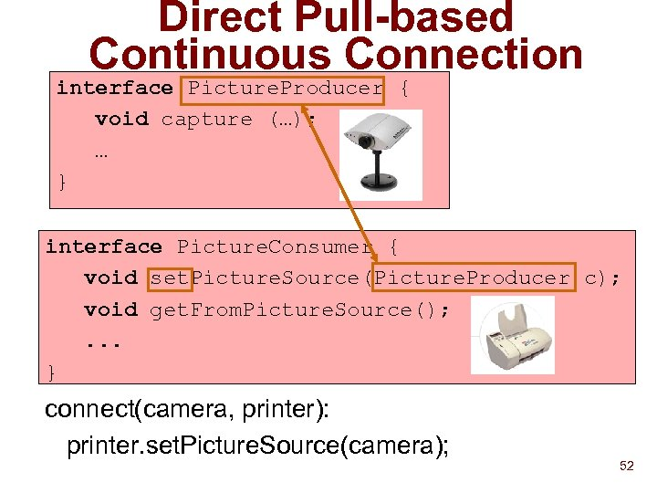 Direct Pull-based Continuous Connection interface Picture. Producer { void capture (…); … } interface