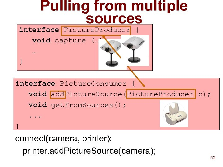 Pulling from multiple sources interface Picture. Producer { void capture (…); … } interface