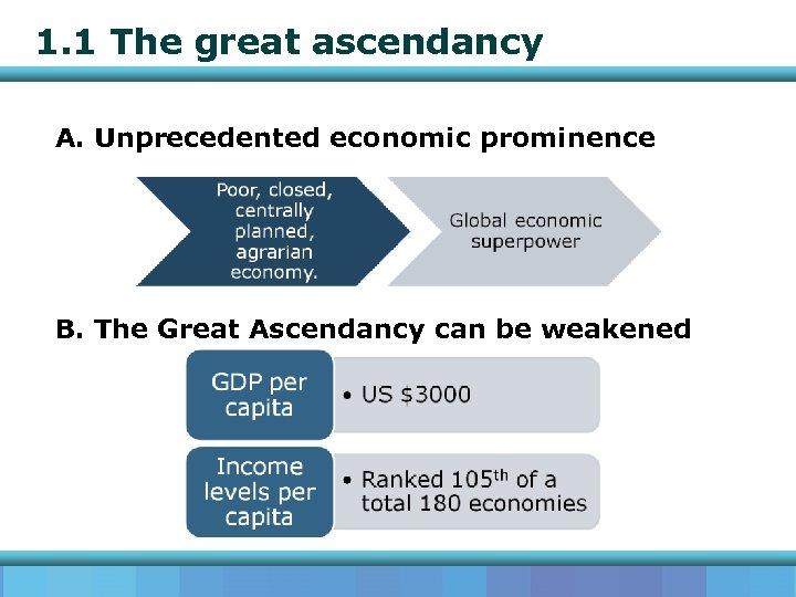 1. 1 The great ascendancy A. Unprecedented economic prominence B. The Great Ascendancy can