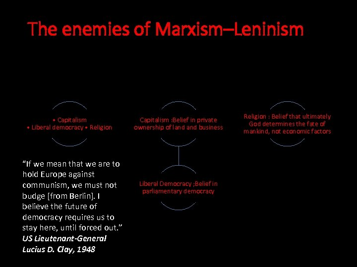 """The enemies of Marxism–Leninism • Capitalism • Liberal democracy • Religion """"If we mean"""