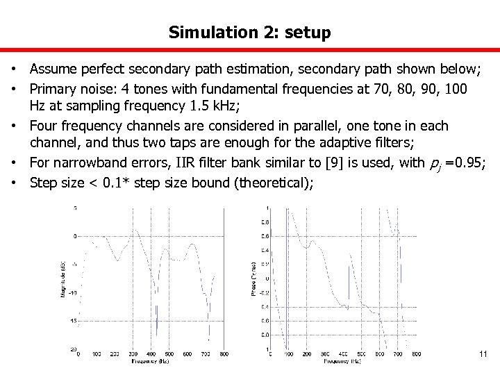 Simulation 2: setup • Assume perfect secondary path estimation, secondary path shown below; •
