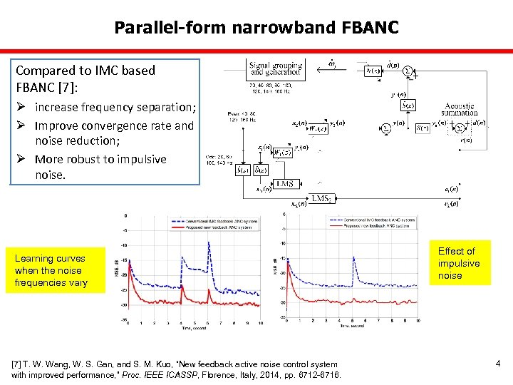 Parallel-form narrowband FBANC Compared to IMC based FBANC [7]: Ø increase frequency separation; Ø