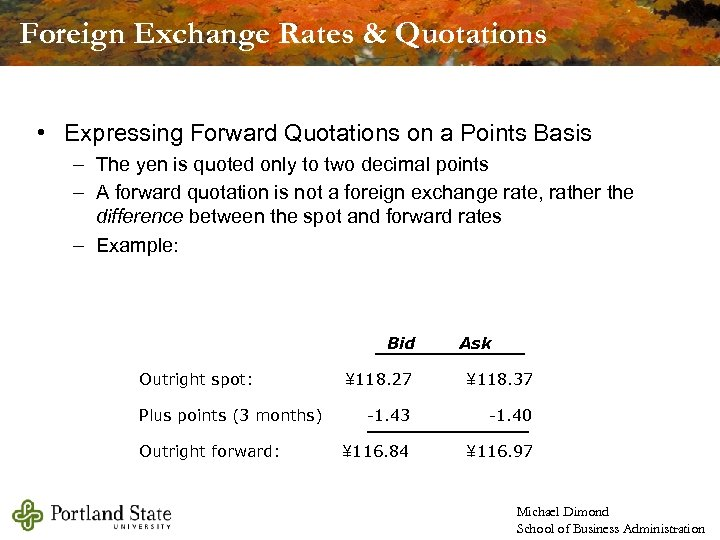 Foreign Exchange Rates & Quotations • Expressing Forward Quotations on a Points Basis –