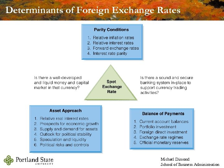 Determinants of Foreign Exchange Rates Michael Dimond School of Business Administration