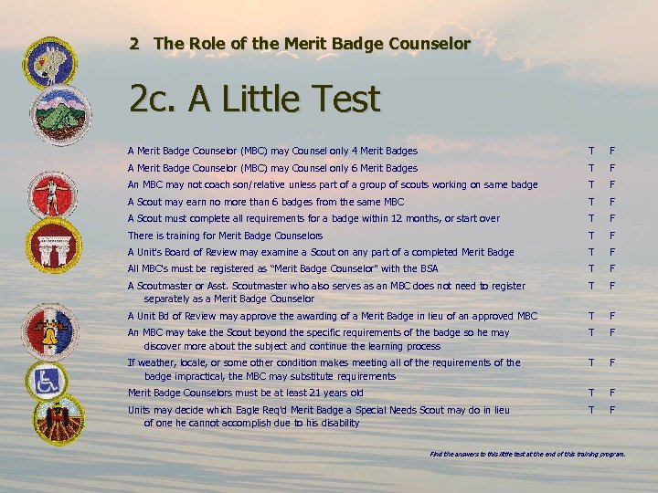 2 The Role of the Merit Badge Counselor 2 c. A Little Test A
