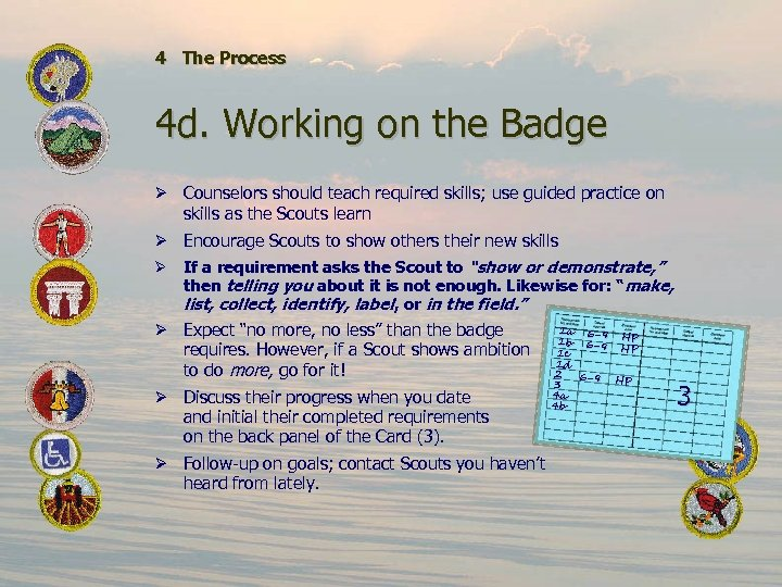 4 The Process 4 d. Working on the Badge Ø Counselors should teach required