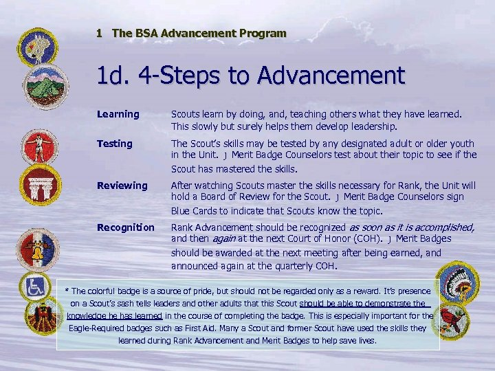 1 The BSA Advancement Program 1 d. 4 -Steps to Advancement Learning Scouts learn
