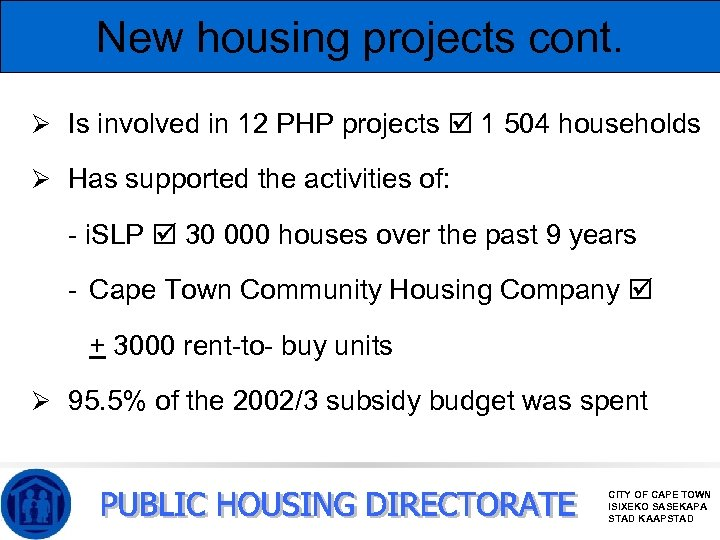New housing projects cont. Ø Is involved in 12 PHP projects 1 504 households