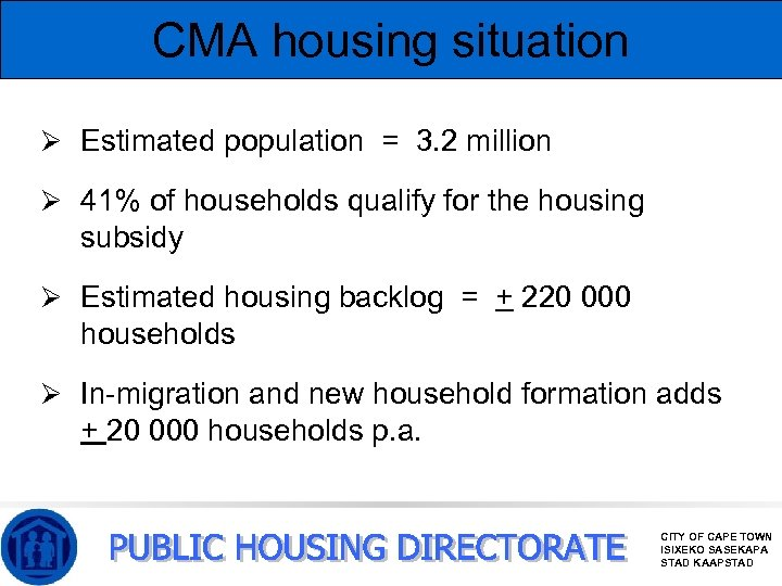 CMA housing situation Ø Estimated population = 3. 2 million Ø 41% of households