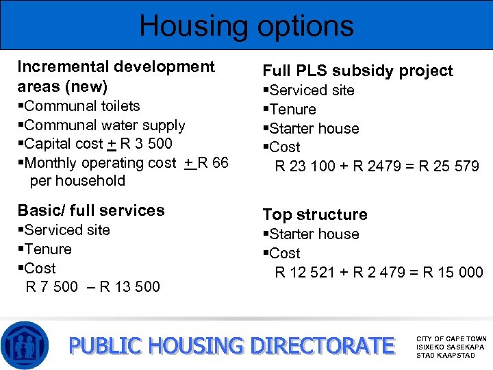 Housing options Incremental development areas (new) §Communal toilets §Communal water supply §Capital cost +