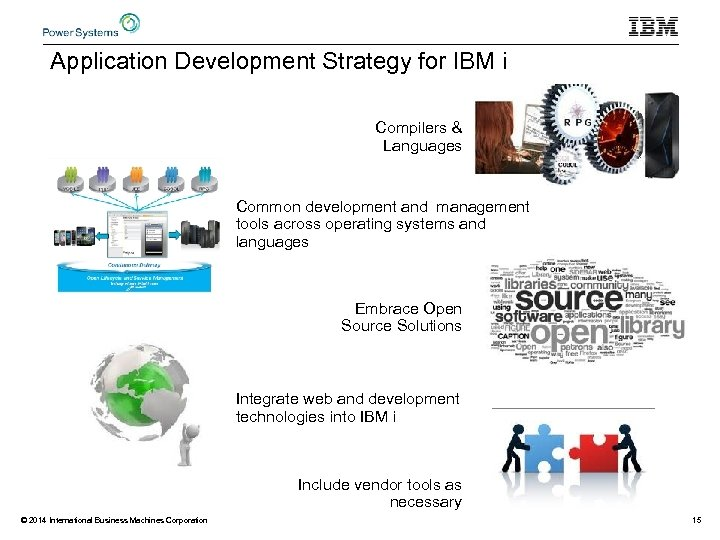 Application Development Strategy for IBM i Compilers & Languages Common development and management tools