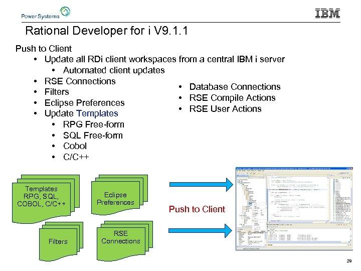 Rational Developer for i V 9. 1. 1 Push to Client • Update all