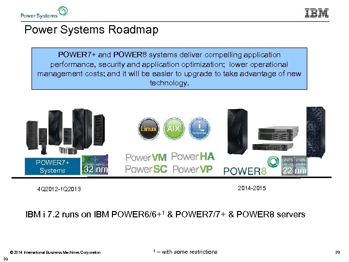 Power Systems Roadmap POWER 7+ and POWER 8 systems deliver compelling application performance, security