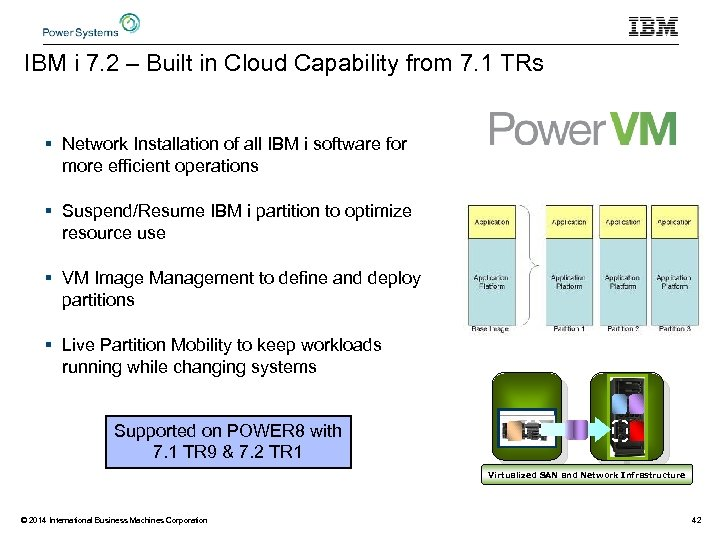 IBM i 7. 2 – Built in Cloud Capability from 7. 1 TRs §