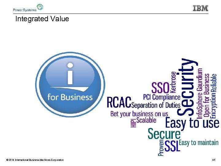Integrated Value © 2014 International Business Machines Corporation 45