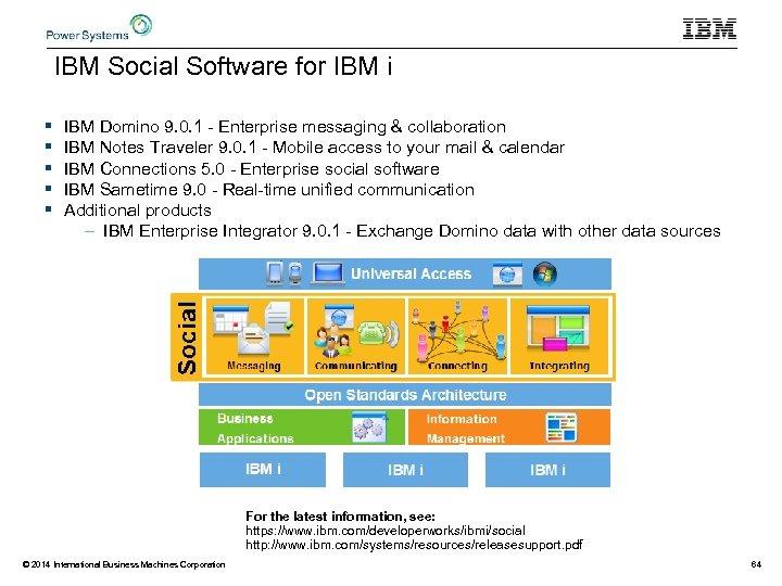 IBM Social Software for IBM i § § § IBM Domino 9. 0. 1