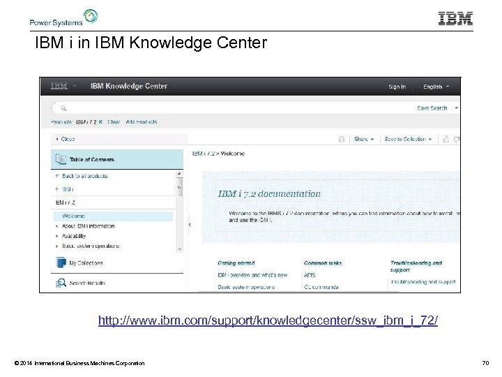 IBM i in IBM Knowledge Center http: //www. ibm. com/support/knowledgecenter/ssw_ibm_i_72/ © 2014 International Business