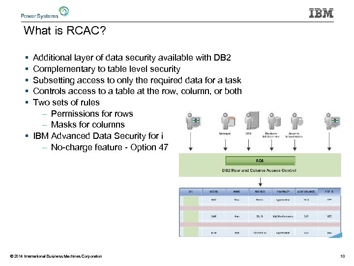 What is RCAC? § § § Additional layer of data security available with DB