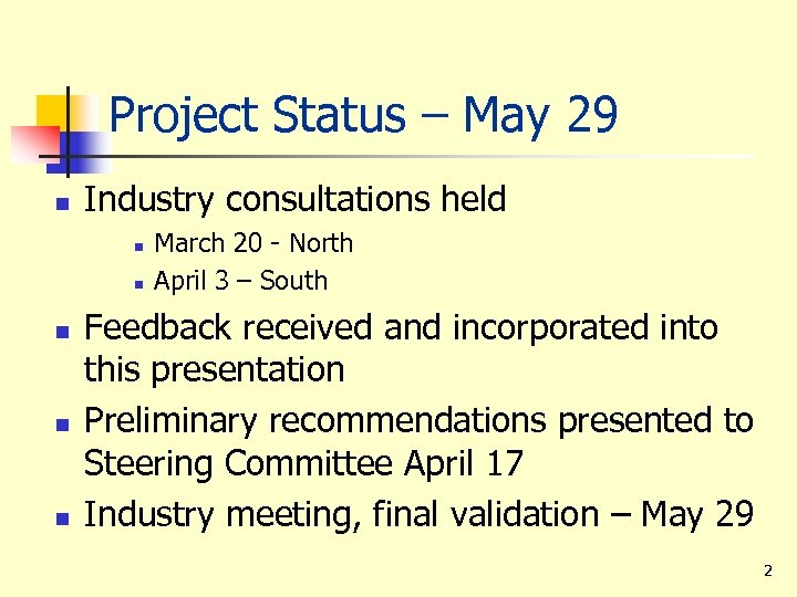 Project Status – May 29 n Industry consultations held n n n March 20