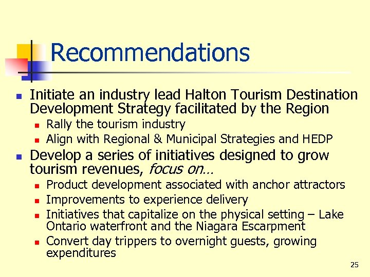 Recommendations n Initiate an industry lead Halton Tourism Destination Development Strategy facilitated by the