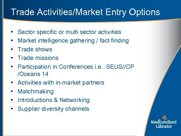 Trade Activities/Market Entry Options • • • Sector specific or multi sector activities Market