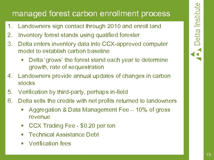managed forest carbon enrollment process 1. Landowners sign contact through 2010 and enroll land