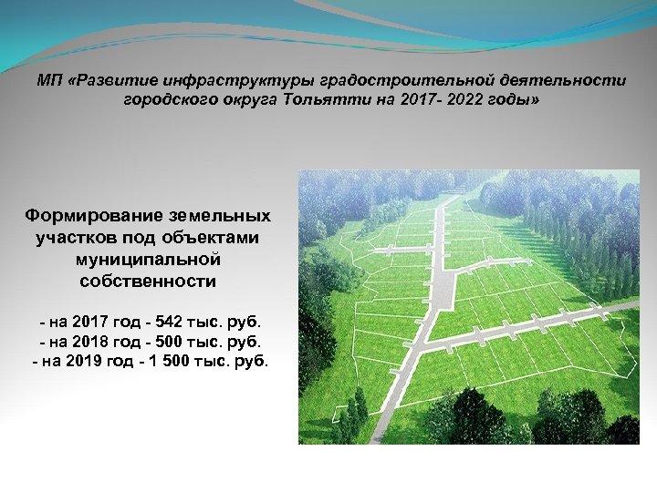 МП «Развитие инфраструктуры градостроительной деятельности городского округа Тольятти на 2017 - 2022 годы» Формирование
