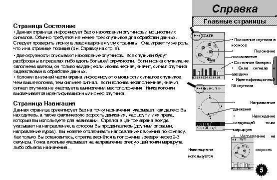 Справка Главные страницы Страница Состояние • Данная страница информирует Вас о нахождении спутников и