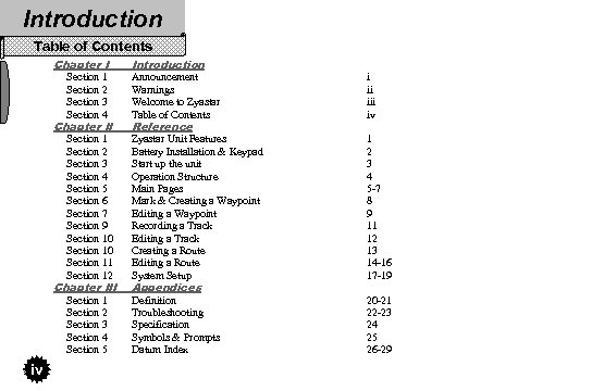 Introduction Table of Contents Chapter I Introduction Chapter II Reference Section 1 Section 2