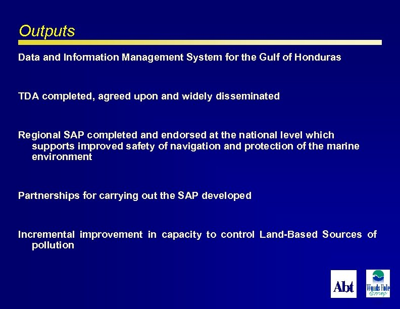 Outputs Data and Information Management System for the Gulf of Honduras TDA completed, agreed