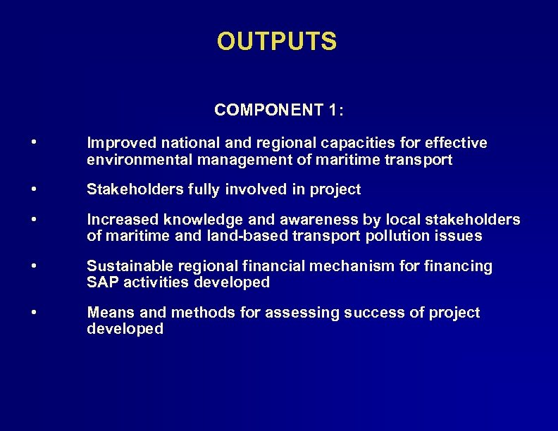 OUTPUTS COMPONENT 1: • Improved national and regional capacities for effective environmental management of