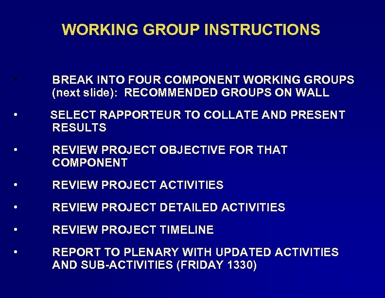 WORKING GROUP INSTRUCTIONS • BREAK INTO FOUR COMPONENT WORKING GROUPS (next slide): RECOMMENDED GROUPS