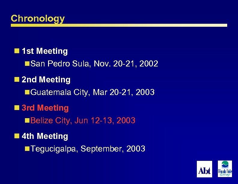 Chronology n 1 st Meeting n. San Pedro Sula, Nov. 20 -21, 2002 n
