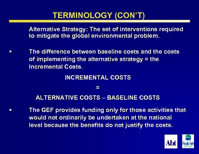TERMINOLOGY (CON'T) § Alternative Strategy: The set of interventions required to mitigate the global