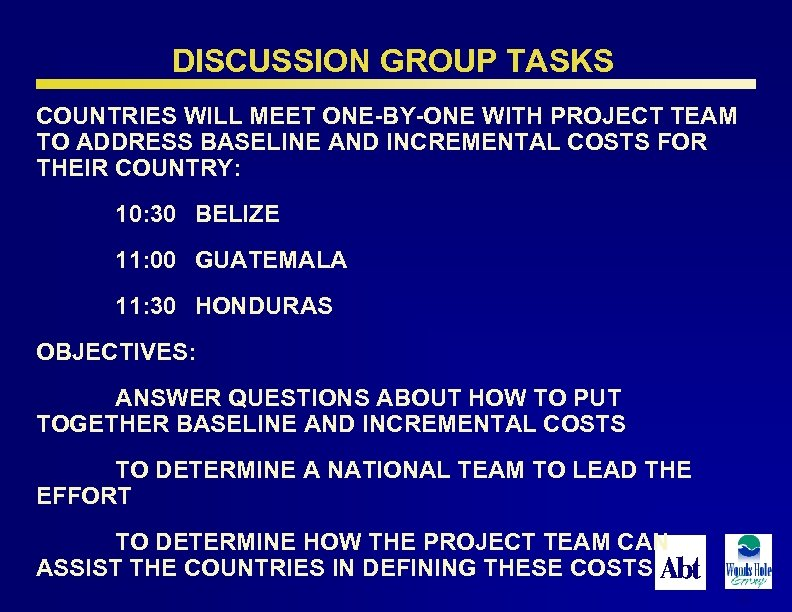 DISCUSSION GROUP TASKS COUNTRIES WILL MEET ONE-BY-ONE WITH PROJECT TEAM TO ADDRESS BASELINE AND