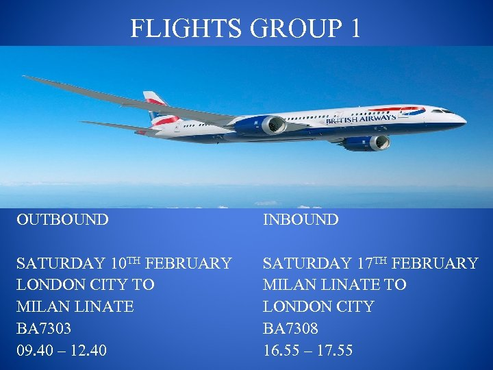 FLIGHTS GROUP 1 OUTBOUND INBOUND SATURDAY 10 TH FEBRUARY LONDON CITY TO MILAN LINATE