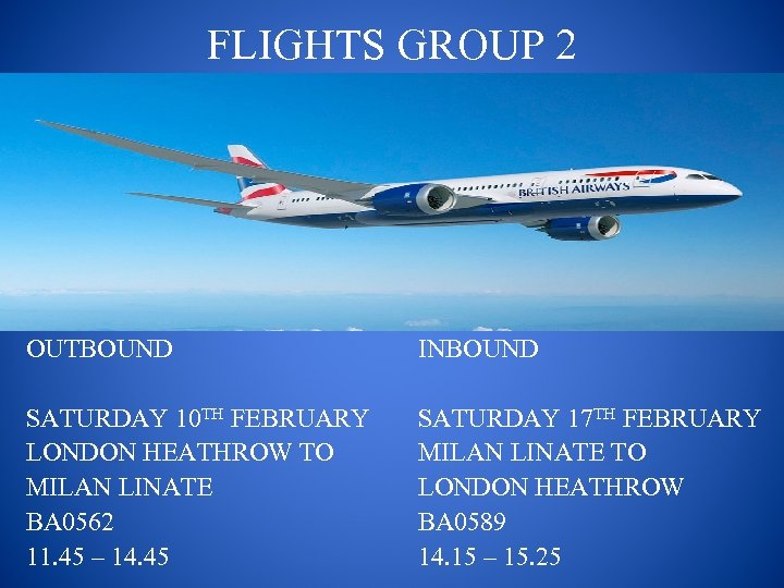 FLIGHTS GROUP 2 OUTBOUND INBOUND SATURDAY 10 TH FEBRUARY LONDON HEATHROW TO MILAN LINATE