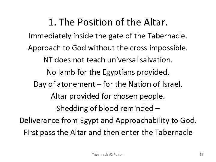 1. The Position of the Altar. Immediately inside the gate of the Tabernacle. Approach