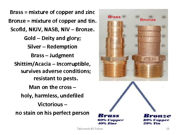 Brass = mixture of copper and zinc Bronze = mixture of copper and tin.