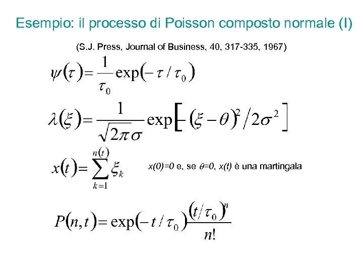 Esempio: il processo di Poisson composto normale (I) (S. J. Press, Journal of Business,