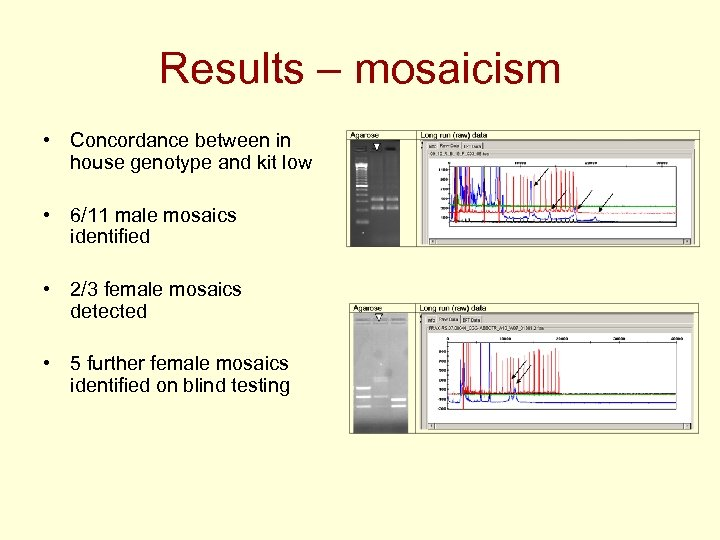 Results – mosaicism • Concordance between in house genotype and kit low • 6/11